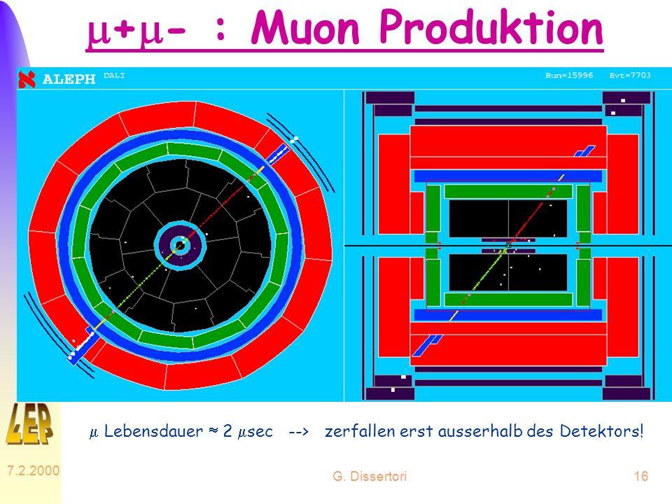 m+m- : Muon Produktion m Lebensdauer  2 msec --> zerfallen erst ausserhalb des Detektors! 7.2.2000.