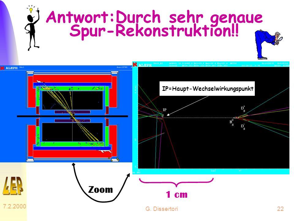 Antwort:Durch sehr genaue Spur-Rekonstruktion!!