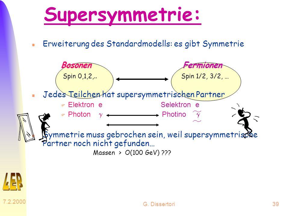 Supersymmetrie: Erweiterung des Standardmodells: es gibt Symmetrie