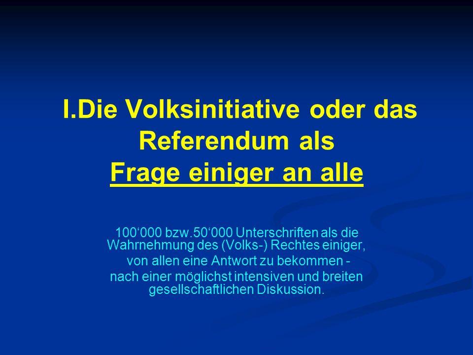 I.Die Volksinitiative oder das Referendum als Frage einiger an alle