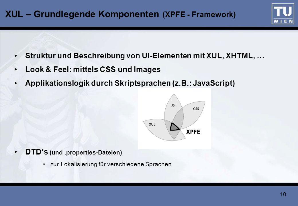 XUL – Grundlegende Komponenten (XPFE - Framework)