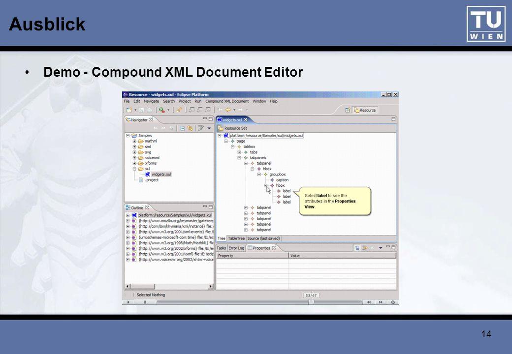 Ausblick Demo - Compound XML Document Editor