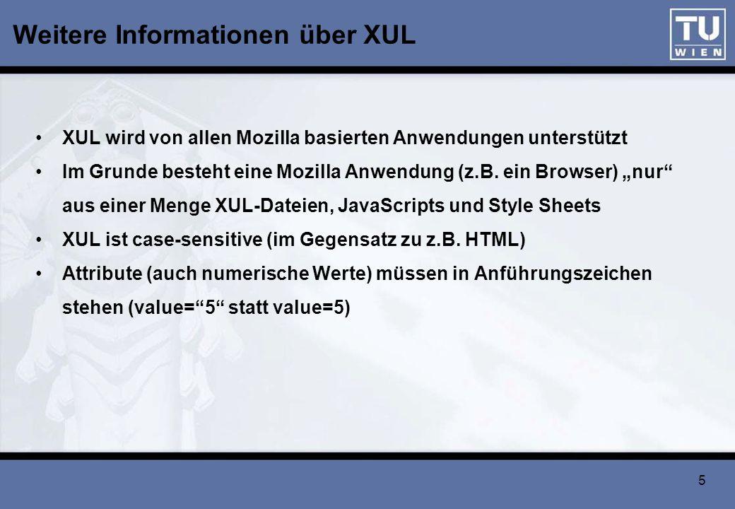 Weitere Informationen über XUL