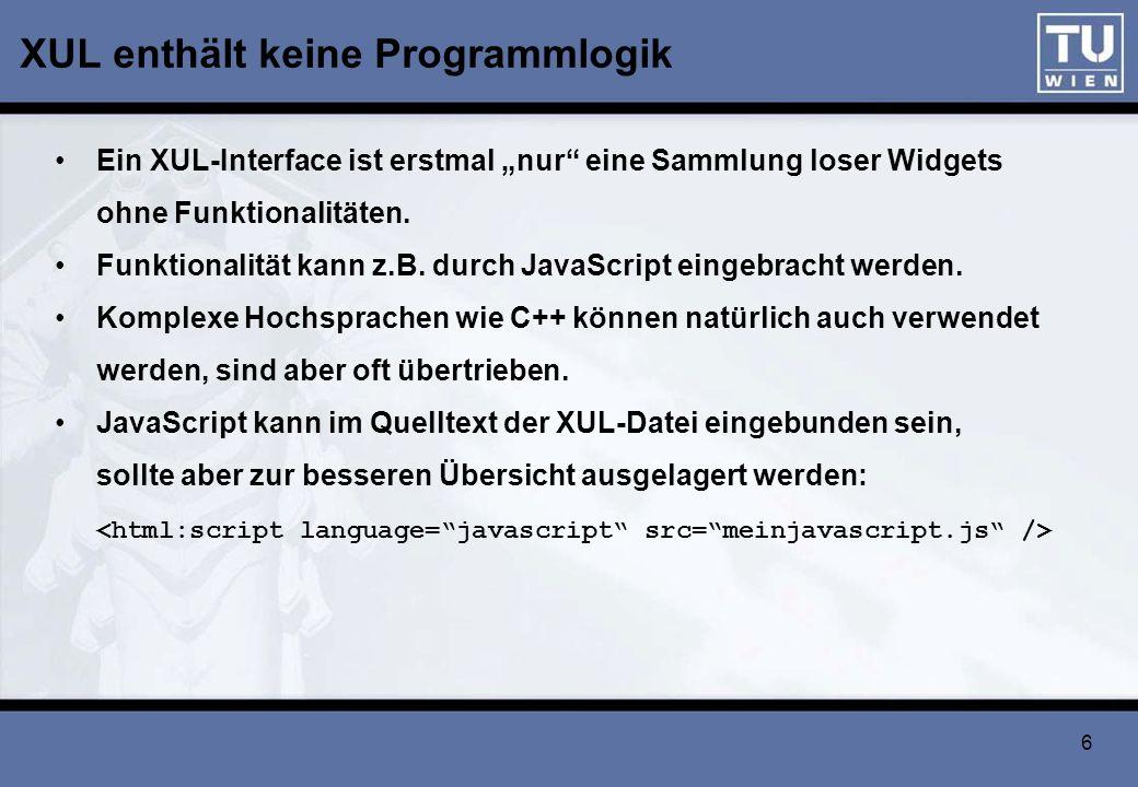 XUL enthält keine Programmlogik