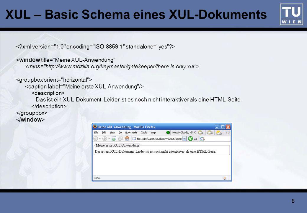 XUL – Basic Schema eines XUL-Dokuments