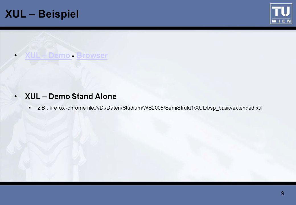 XUL – Beispiel XUL – Demo - Browser XUL – Demo Stand Alone