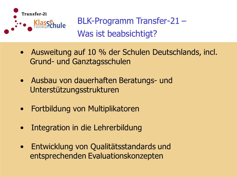 BLK-Programm Transfer-21 – Was ist beabsichtigt