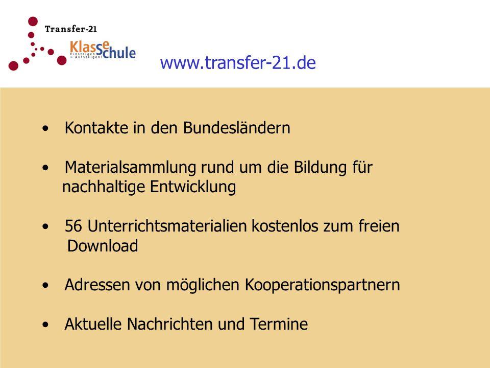 www.transfer-21.de Kontakte in den Bundesländern