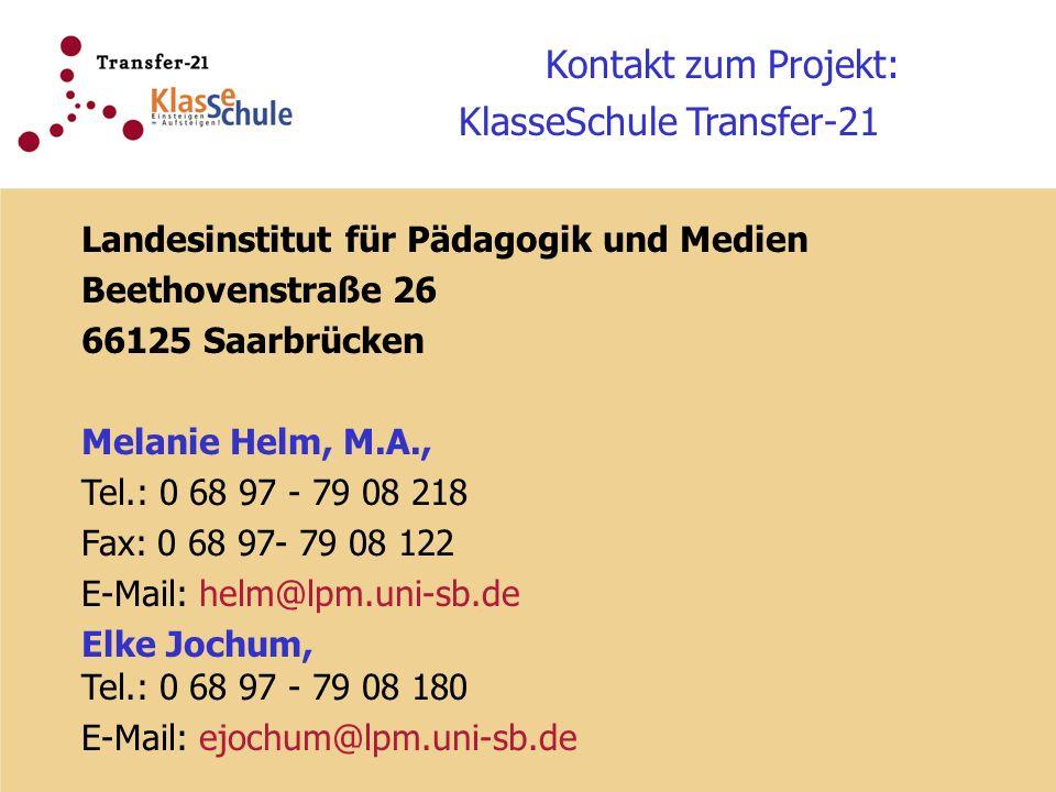 Kontakt zum Projekt: KlasseSchule Transfer-21