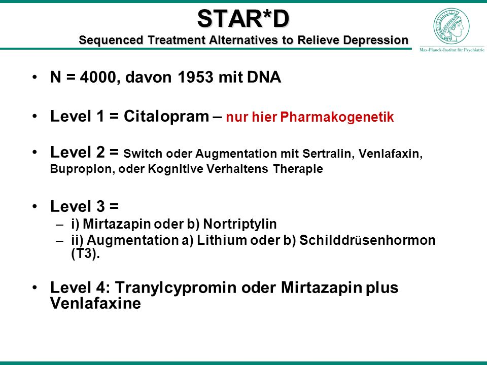 STAR*D Sequenced Treatment Alternatives to Relieve Depression