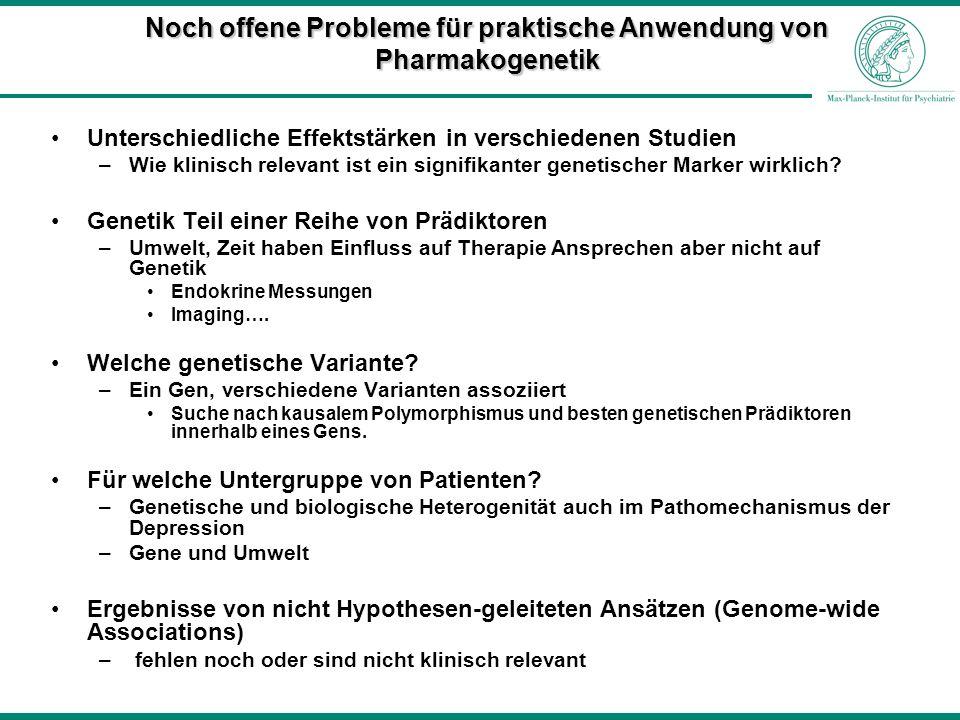 Noch offene Probleme für praktische Anwendung von Pharmakogenetik
