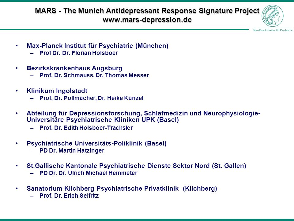 MARS - The Munich Antidepressant Response Signature Project www