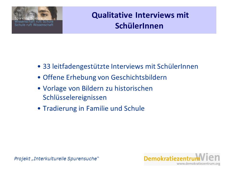 Qualitative Interviews mit SchülerInnen
