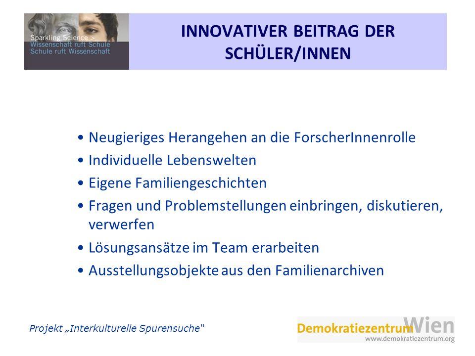 INNOVATIVER BEITRAG DER SCHÜLER/INNEN
