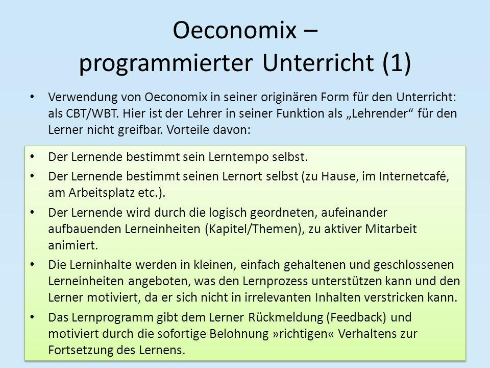 Oeconomix – programmierter Unterricht (1)