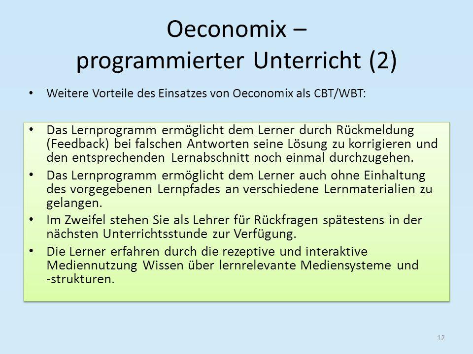 Oeconomix – programmierter Unterricht (2)