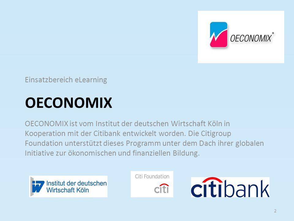 Oeconomix Einsatzbereich eLearning