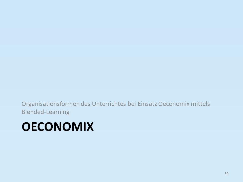 Organisationsformen des Unterrichtes bei Einsatz Oeconomix mittels Blended-Learning