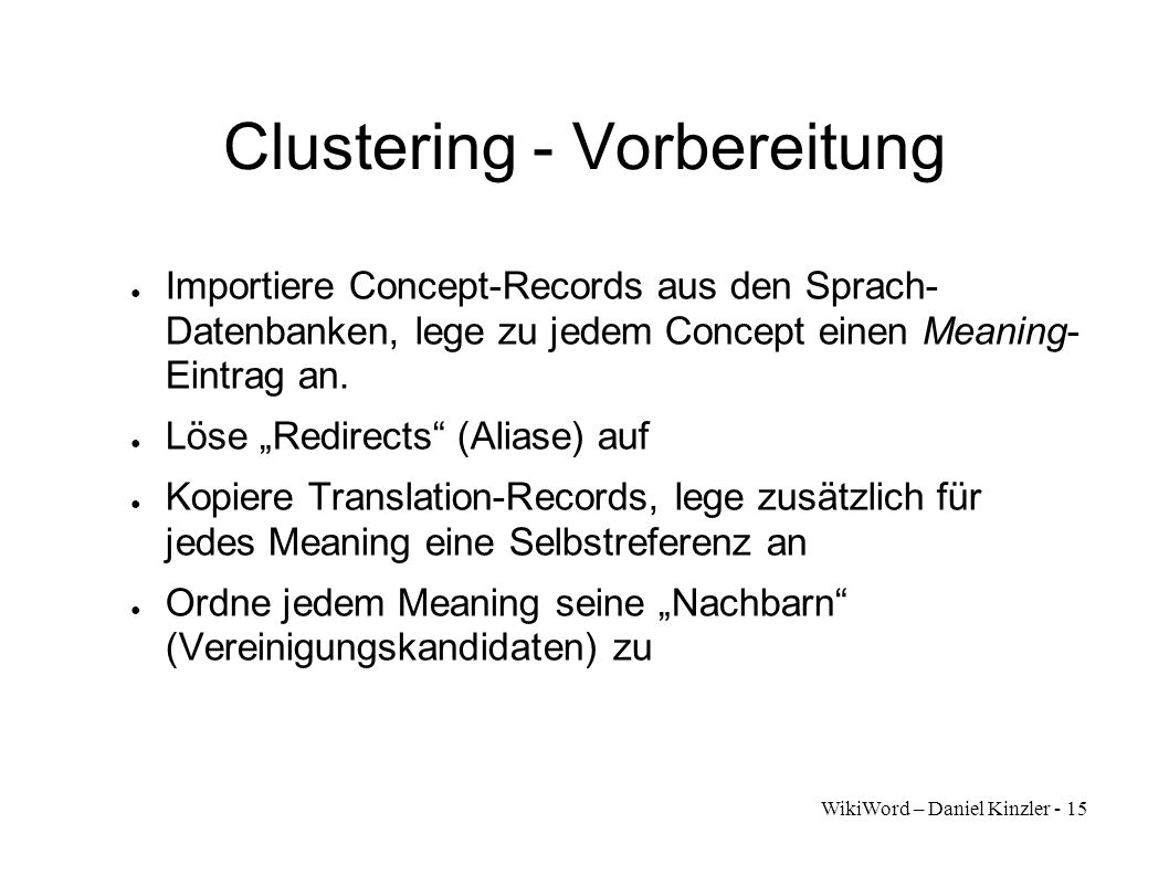 Clustering - Vorbereitung