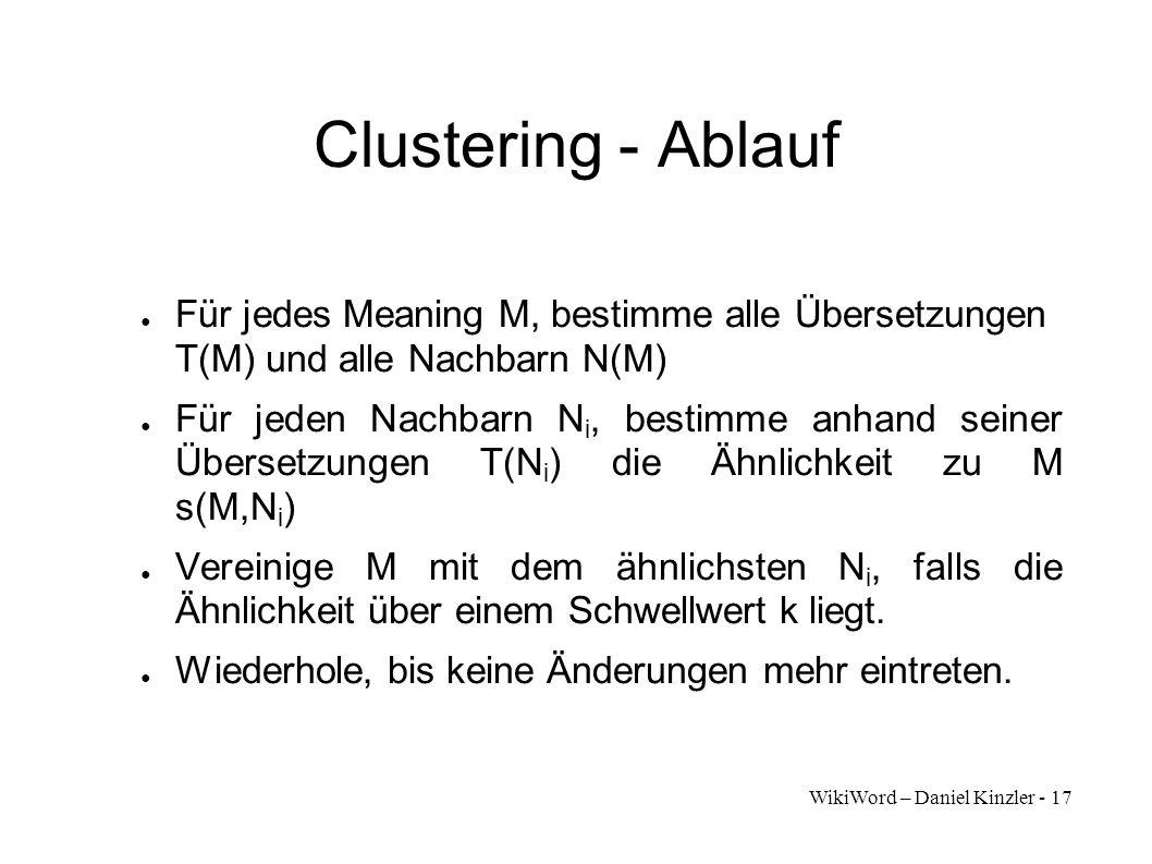 Clustering - Ablauf Für jedes Meaning M, bestimme alle Übersetzungen T(M) und alle Nachbarn N(M)