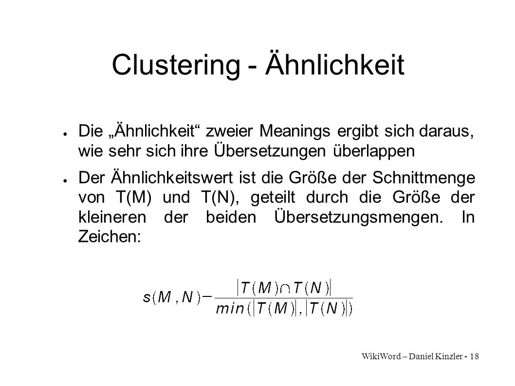 Clustering - Ähnlichkeit