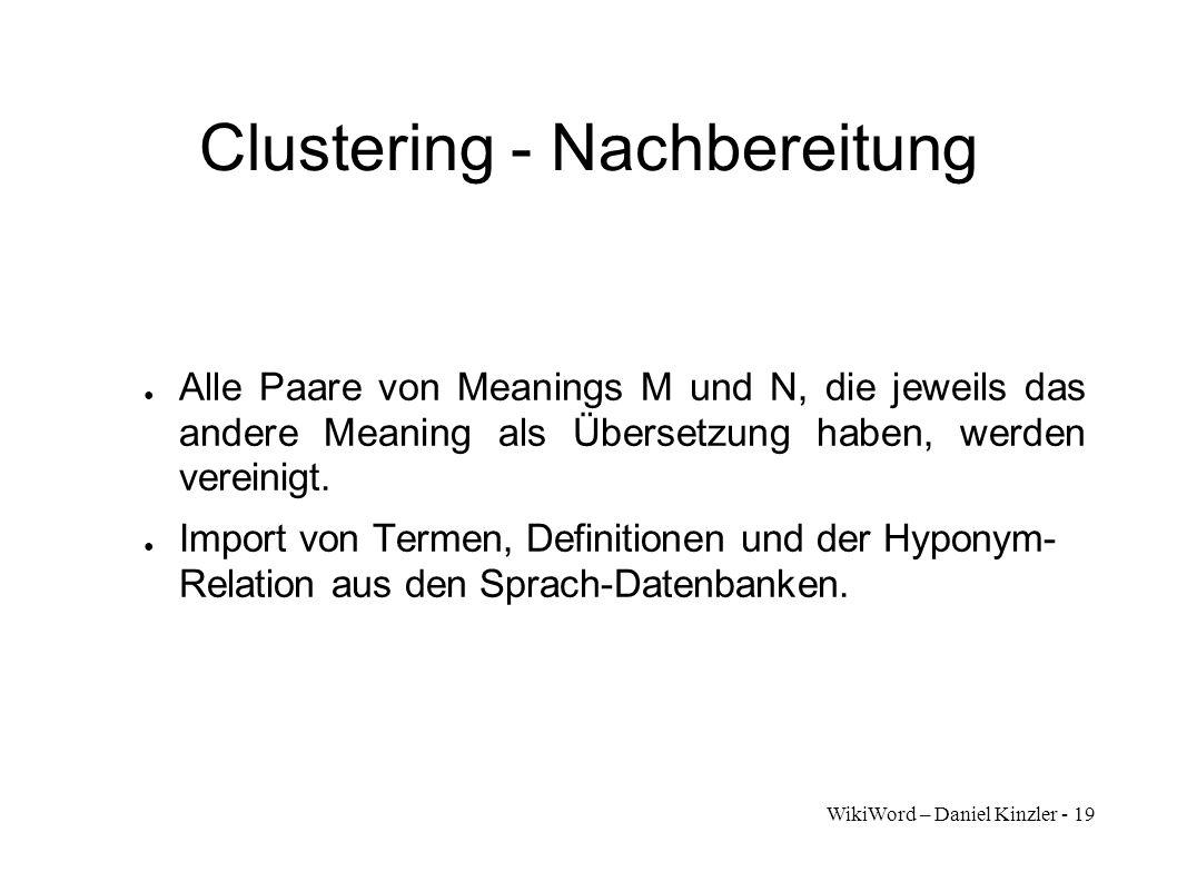 Clustering - Nachbereitung