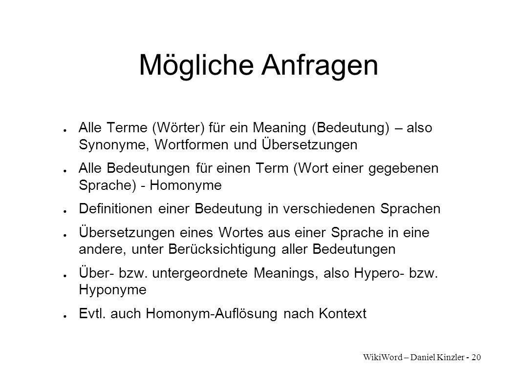 Mögliche Anfragen Alle Terme (Wörter) für ein Meaning (Bedeutung) – also Synonyme, Wortformen und Übersetzungen.