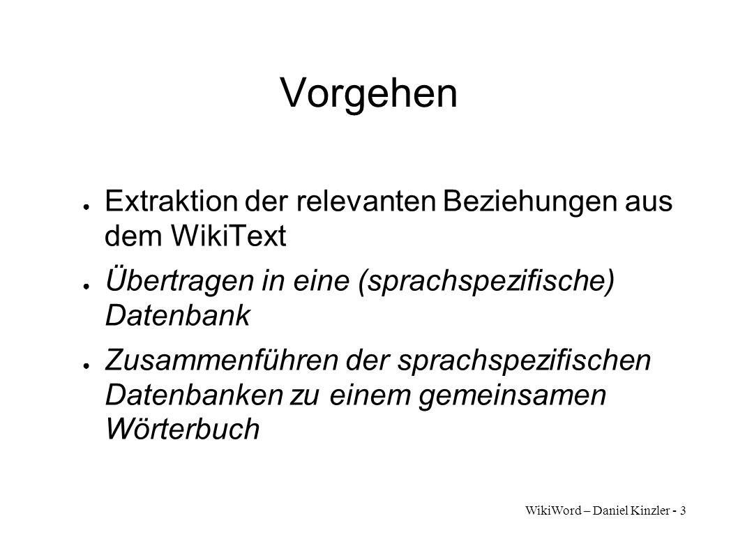 Vorgehen Extraktion der relevanten Beziehungen aus dem WikiText