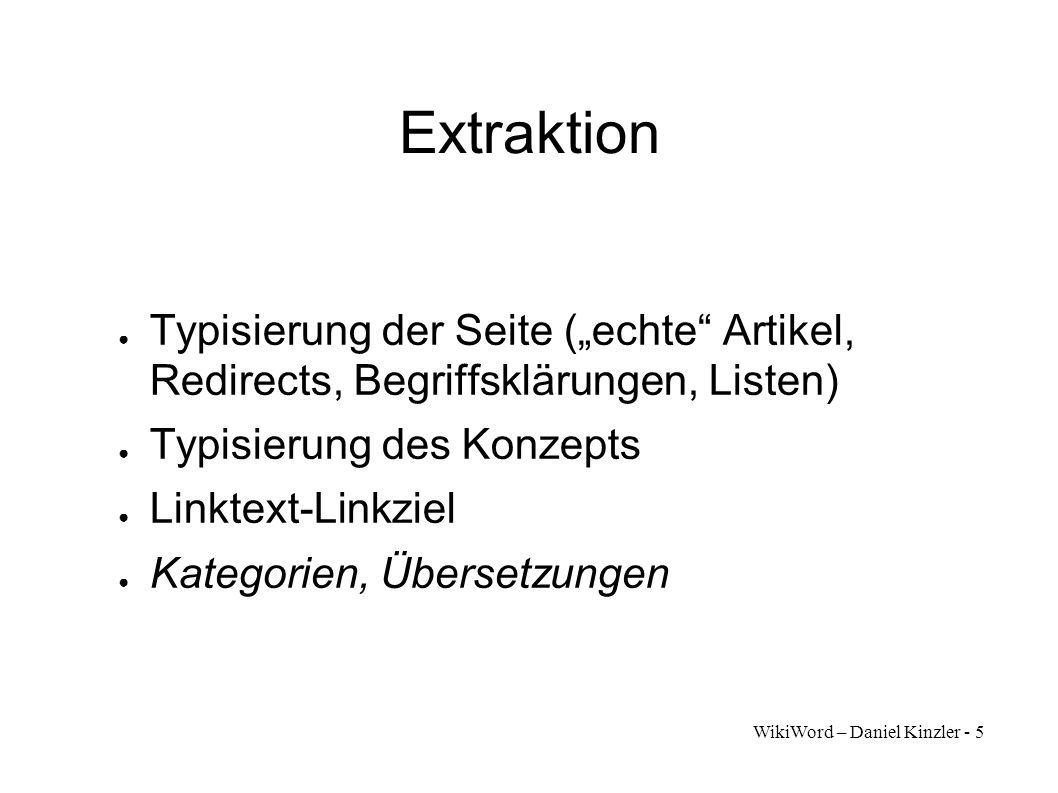 """Extraktion Typisierung der Seite (""""echte Artikel, Redirects, Begriffsklärungen, Listen) Typisierung des Konzepts."""