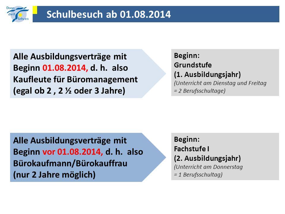 Schulbesuch ab 01.08.2014 Alle Ausbildungsverträge mit Beginn 01.08.2014, d. h. also. Kaufleute für Büromanagement.