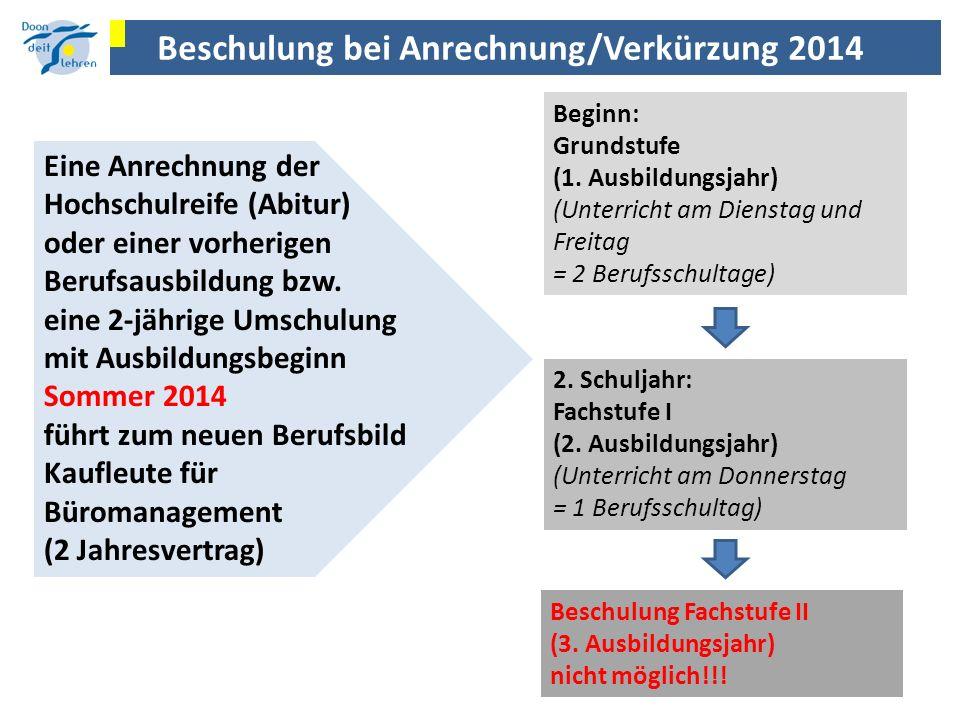Beschulung bei Anrechnung/Verkürzung 2014