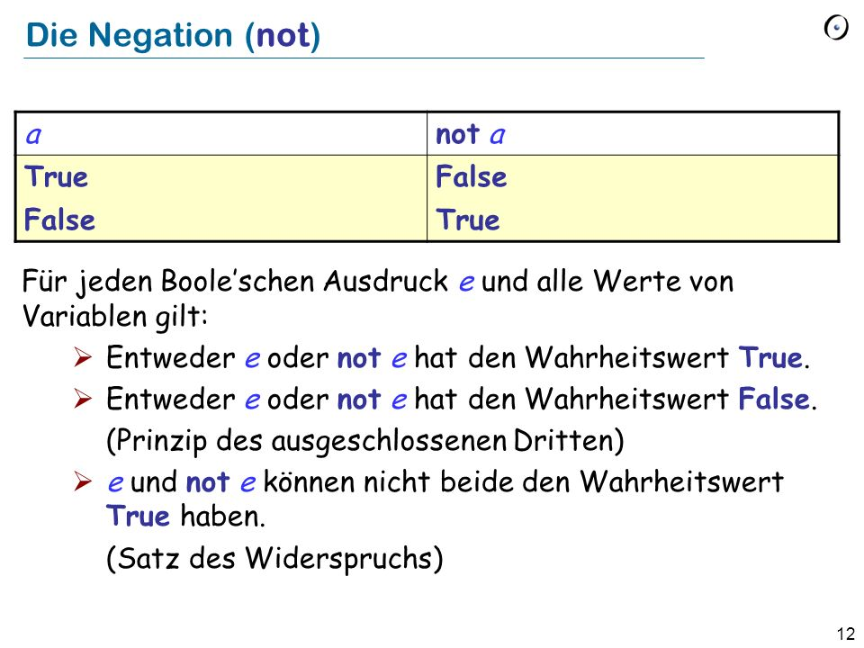 Die Negation (not) a not a True False
