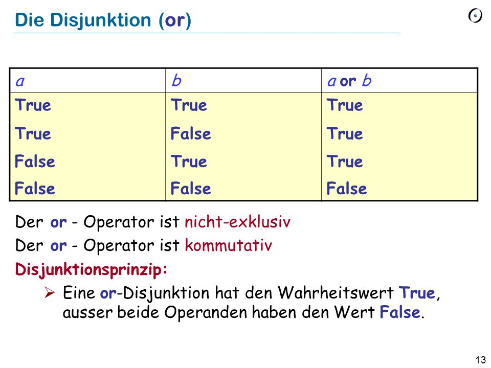 Die Disjunktion (or) a b a or b True False