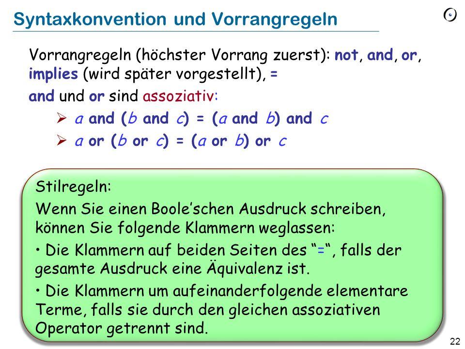 Syntaxkonvention und Vorrangregeln