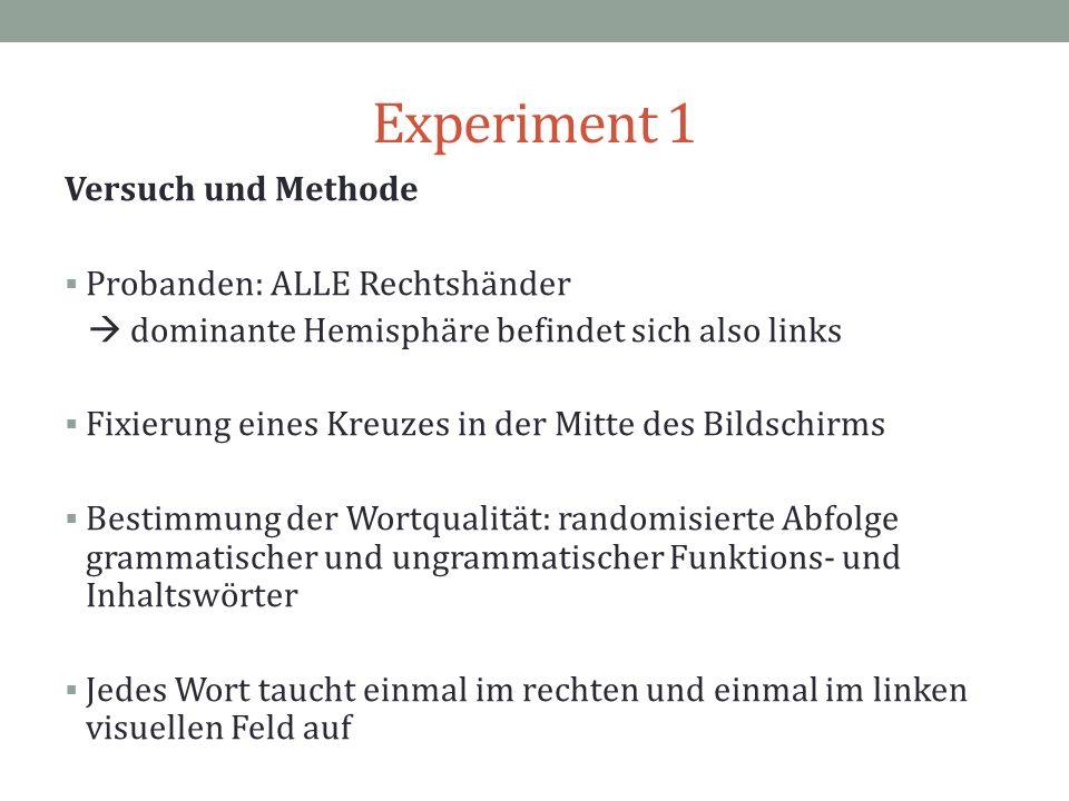 Experiment 1 Versuch und Methode Probanden: ALLE Rechtshänder