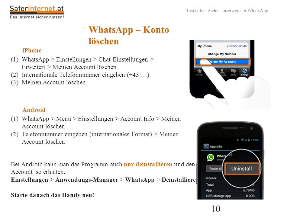 WhatsApp – Konto löschen