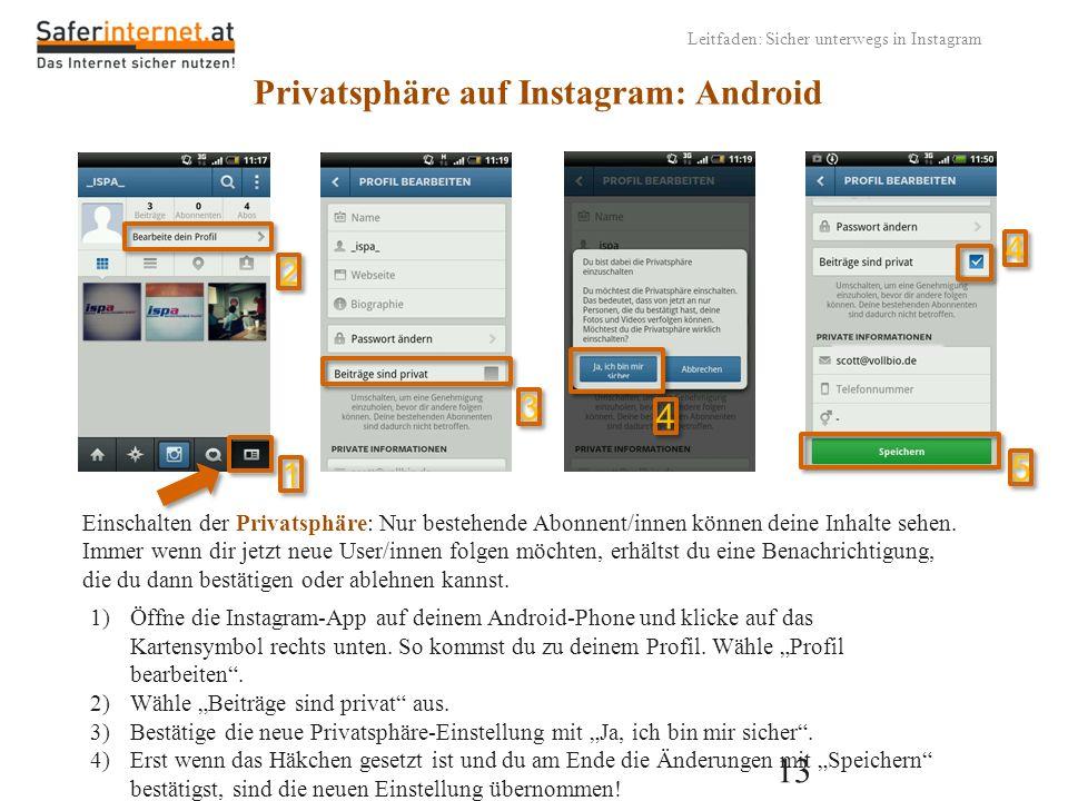 Privatsphäre auf Instagram: Android