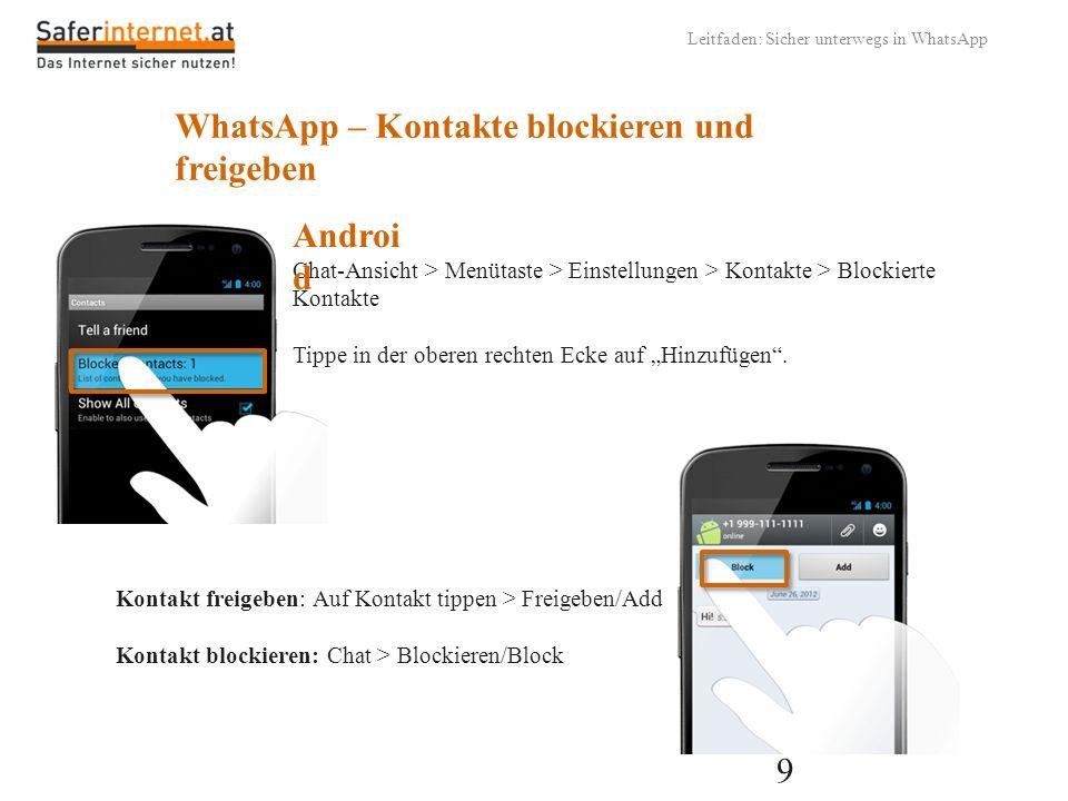 WhatsApp – Kontakte blockieren und freigeben
