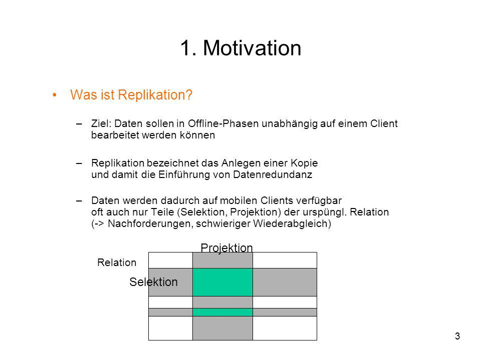 1. Motivation Was ist Replikation Projektion Selektion