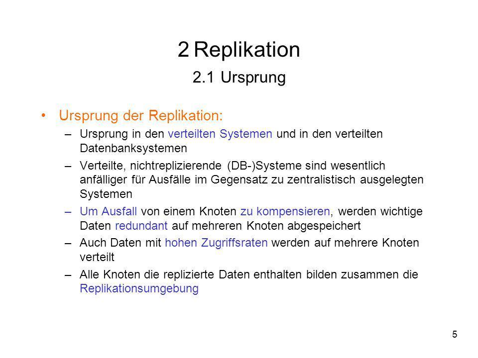2 Replikation 2.1 Ursprung Ursprung der Replikation: