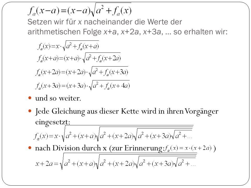 Jede Gleichung aus dieser Kette wird in ihren Vorgänger eingesetzt: