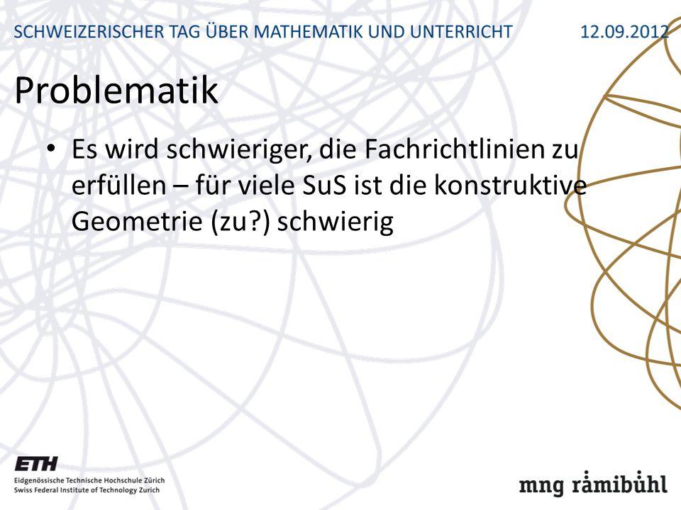 Problematik Es wird schwieriger, die Fachrichtlinien zu erfüllen – für viele SuS ist die konstruktive Geometrie (zu ) schwierig.