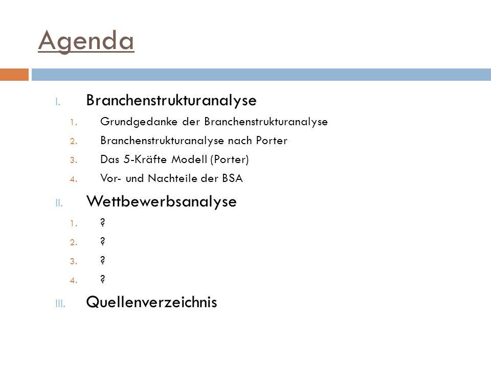 Agenda Branchenstrukturanalyse Wettbewerbsanalyse Quellenverzeichnis