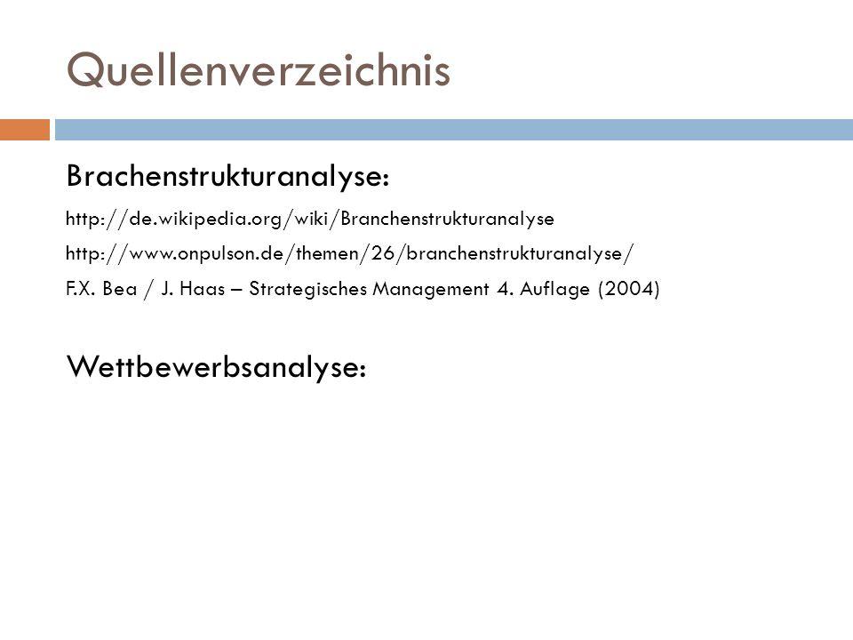 Quellenverzeichnis Brachenstrukturanalyse: Wettbewerbsanalyse: