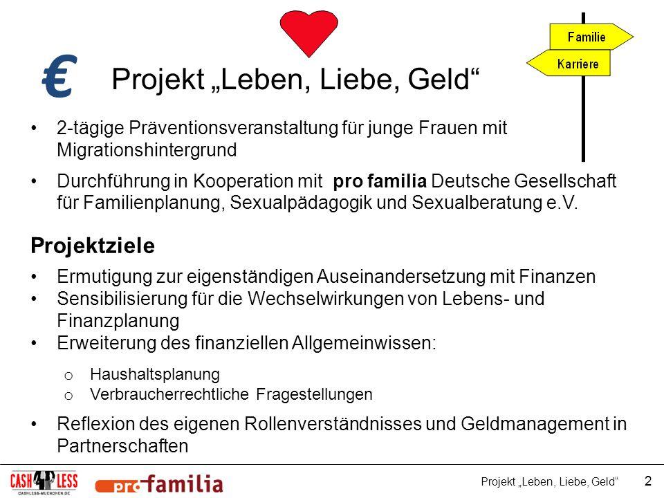 """€ Projekt """"Leben, Liebe, Geld Projektziele"""