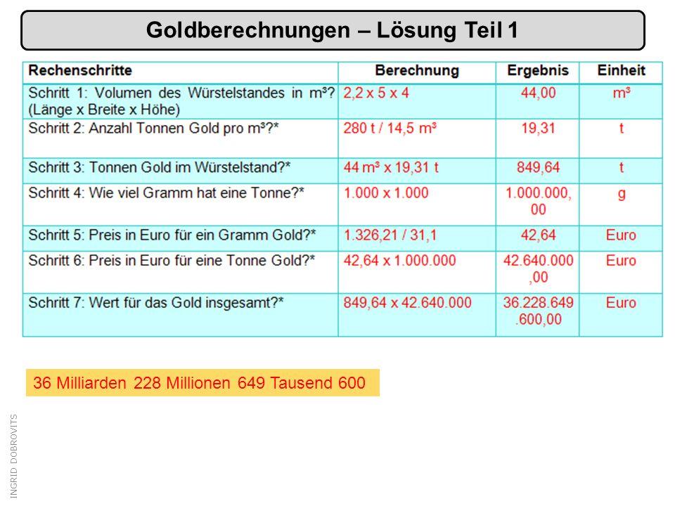 Goldberechnungen – Lösung Teil 1