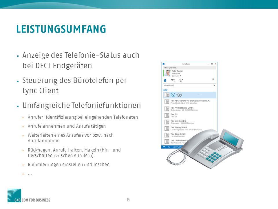 LEISTUNGSUMFANG Anzeige des Telefonie-Status auch bei DECT Endgeräten