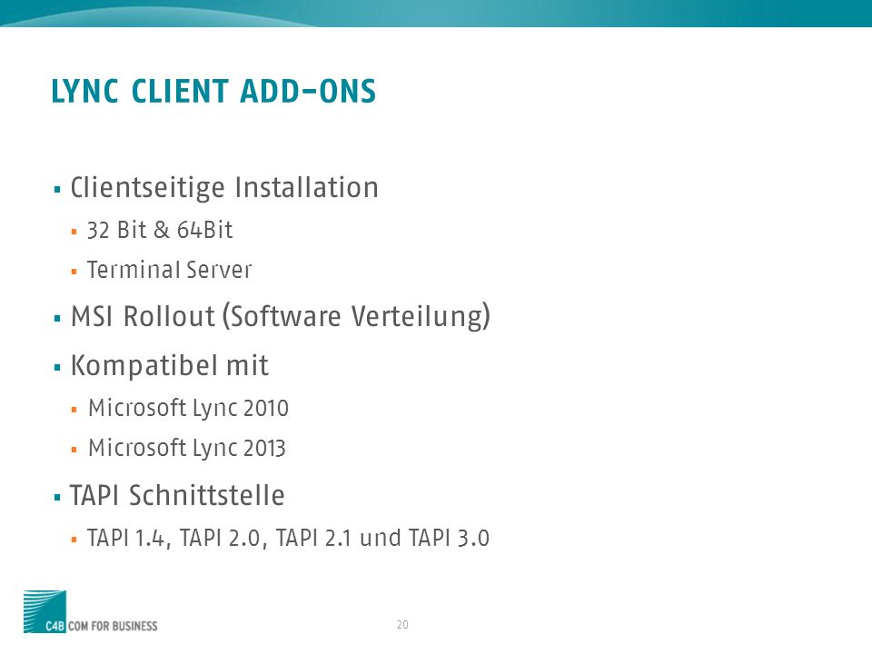 LYNC CLIENT ADD-ONS Clientseitige Installation