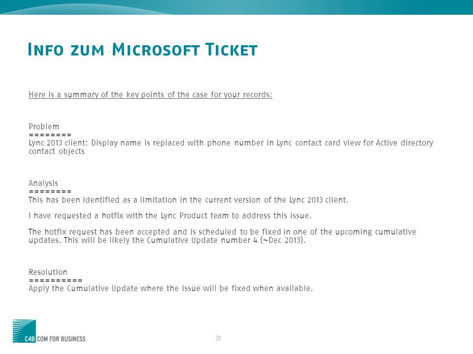 Info zum Microsoft Ticket