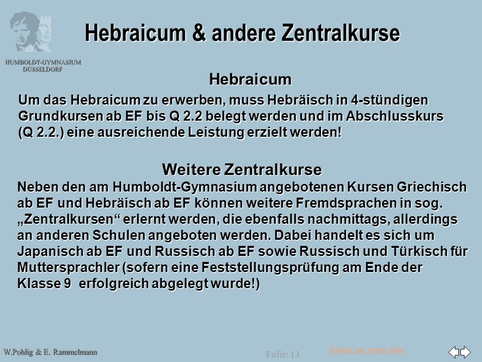 Hebraicum & andere Zentralkurse